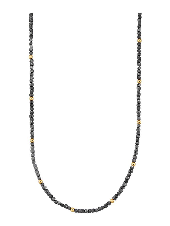 Amara Diamants Collier à diamants bruts en or jaune 585, Noir
