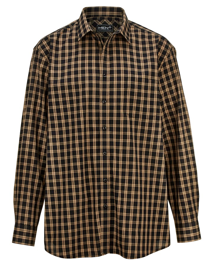 Men Plus Hemd, Schwarz/Beige