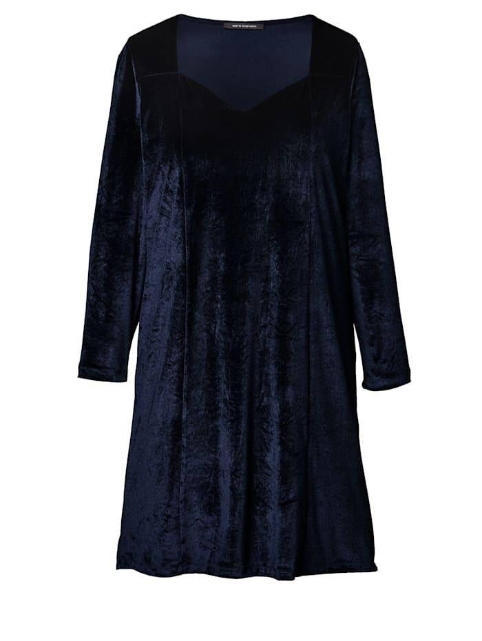 Sara Lindholm Samt-Kleid, Blau