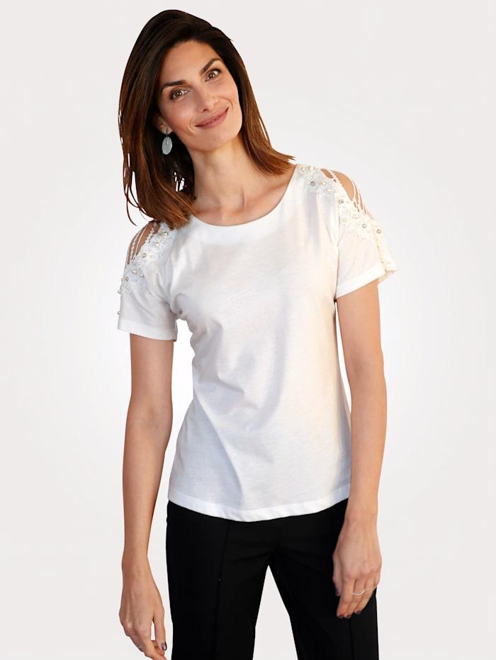 MONA T-shirt avec découpes et perles fantaisie, Écru