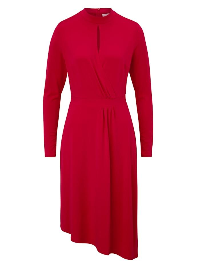 REKEN MAAR Kleid mit asymmetrischem Saum, Granatrot