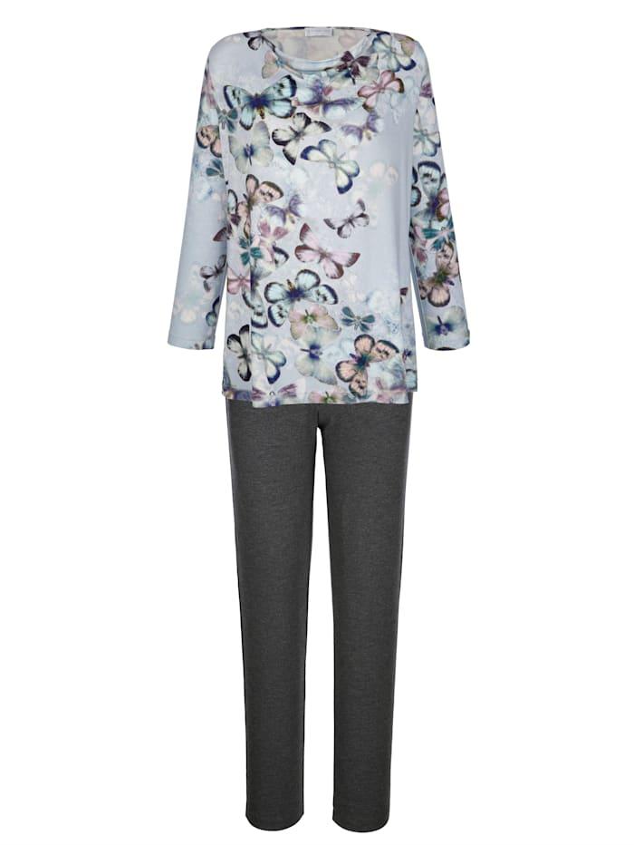 MONA Pyjamas med vackert fjärilsmotiv, Isblå/Gammalrosa/Antracitgrå