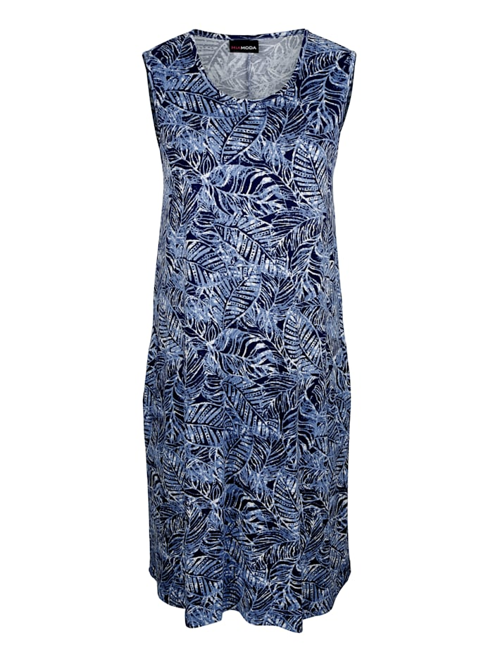 MIAMODA Kleid mit Blattmuster, Marineblau/Weiß