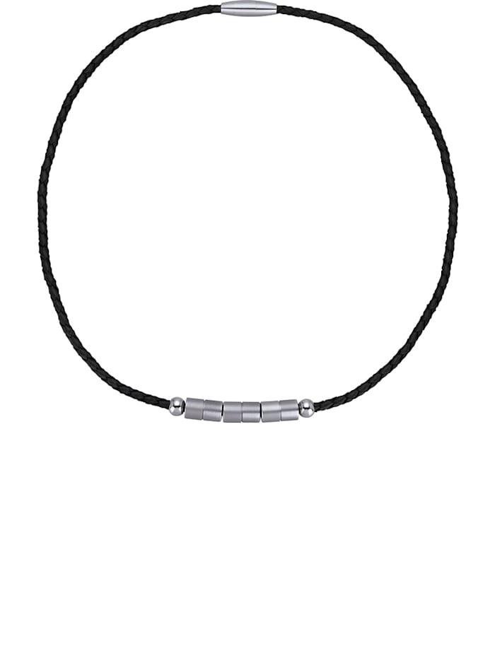 Magnetic Balance Kožený náhrdelník z ušľachtilej ocele, Čierna