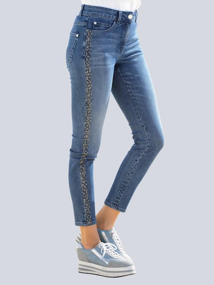 Alba Moda Jeans met strasgalonstreep opzij, Blauw