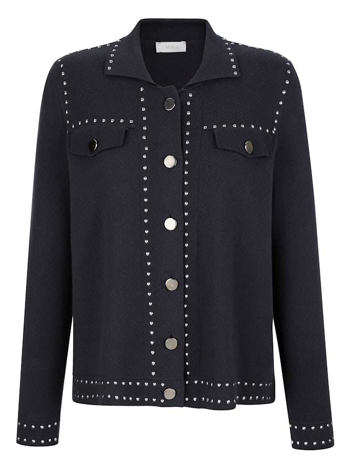 Knitted jacket with metal buttons