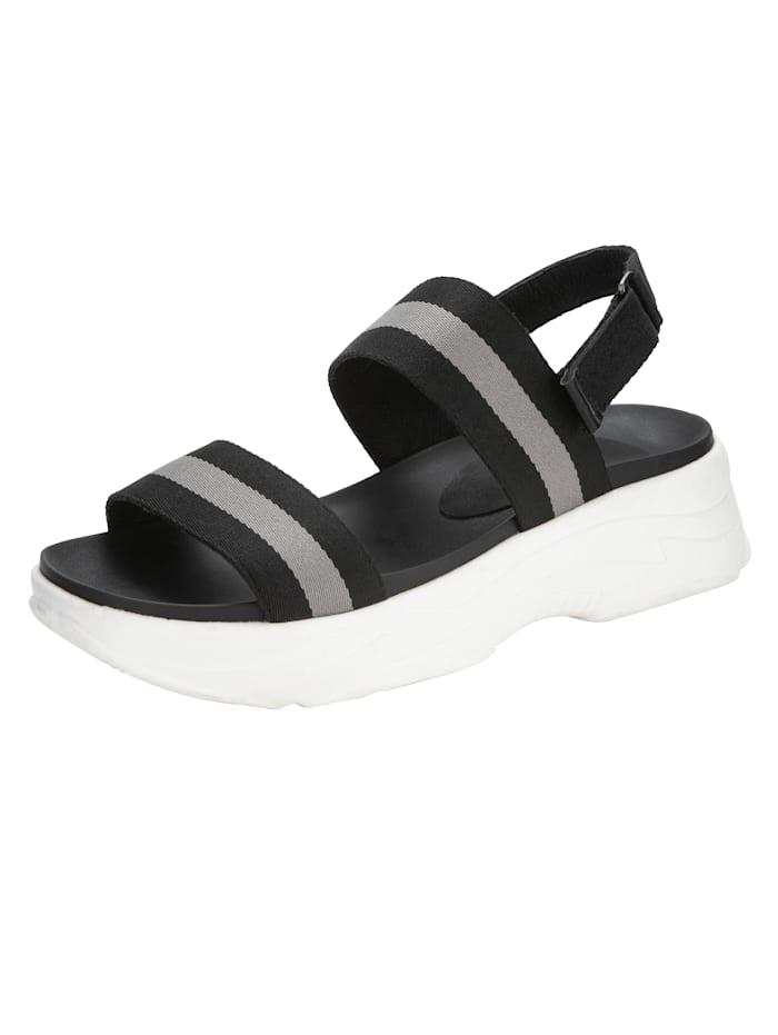 Jette Sandaaltje met klittenband bij de hiel, Zwart