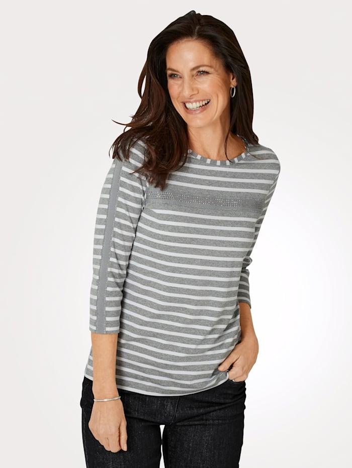 MONA Shirt mit effektvollem Glanzgarn, Grau/Natur