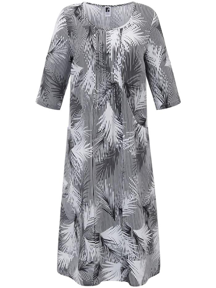 Anna Aura Kleid aus 100% Leinen, schwarz/weiß