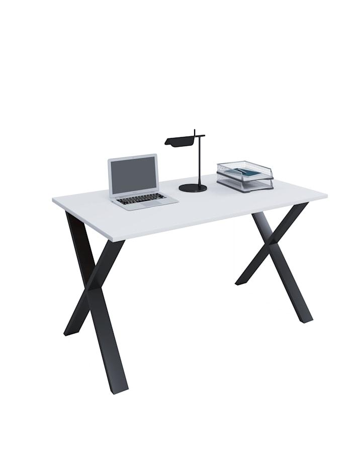 VCM Büromöbel Schreibtisch Lona X Alu Schwarz, B. 140 x T. 80 cm: Weiß