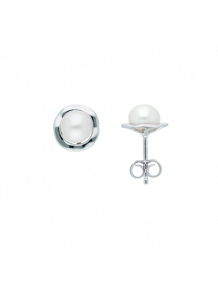 1001 Diamonds Damen Silberschmuck 925 Silber Ohrringe / Ohrstecker mit Süßwasser Zuchtperle, silber