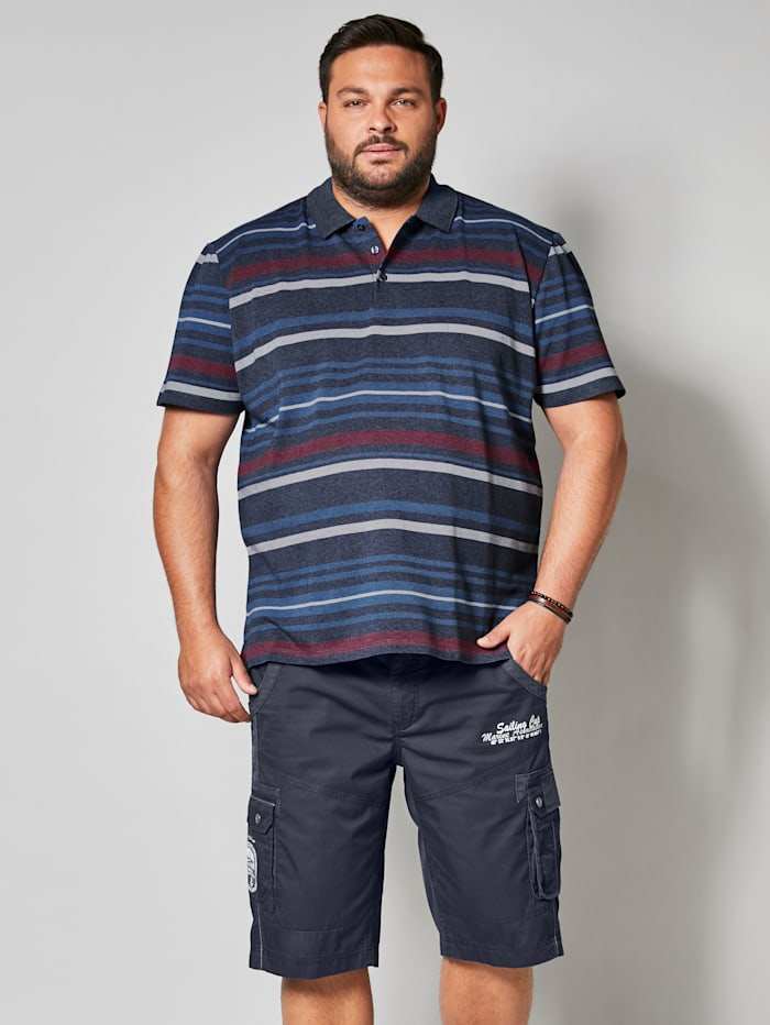 Men Plus Poloshirt mit Streifendesign, Marineblau/Weiß/Rot
