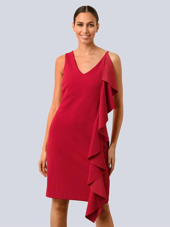 Alba Moda Kleid mit femininen Volants, Rot