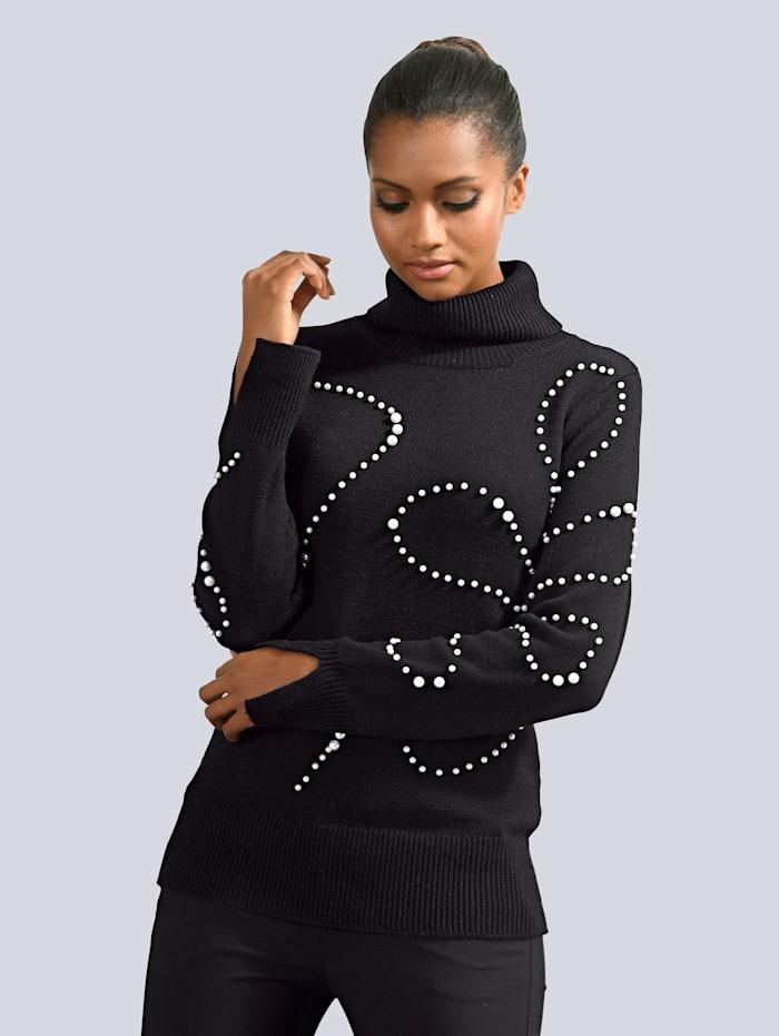 Alba Moda Pullover mit Schmuckperlen Verzierung, Schwarz/Weiß
