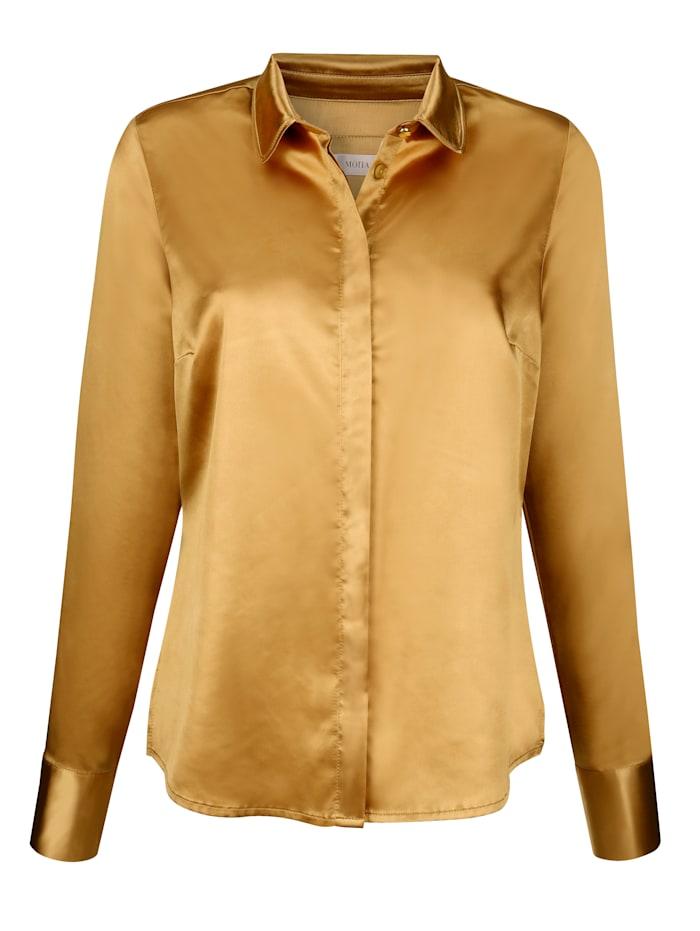 MONA Bluse aus elastischem Satin, Gelb