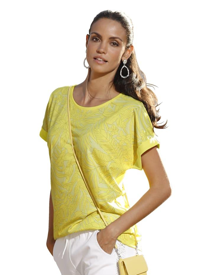 AMY VERMONT Shirt mit bedrucktem Vorderteil und unifarbenem Rückteil, Gelb