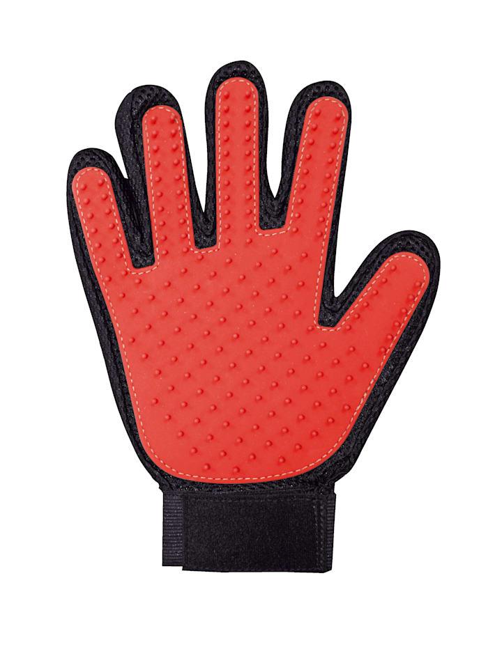 Borstelhandschoen Pet Glove voor huisdieren, rood/zwart