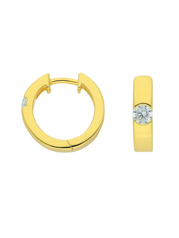 1001 Diamonds Damen Silberschmuck 925 Silber Ohrringe / Creolen mit Zirkonia Ø 15,6 mm, vergoldet