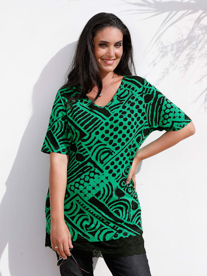 MIAMODA T-shirt avec motif graphique, Vert/Noir