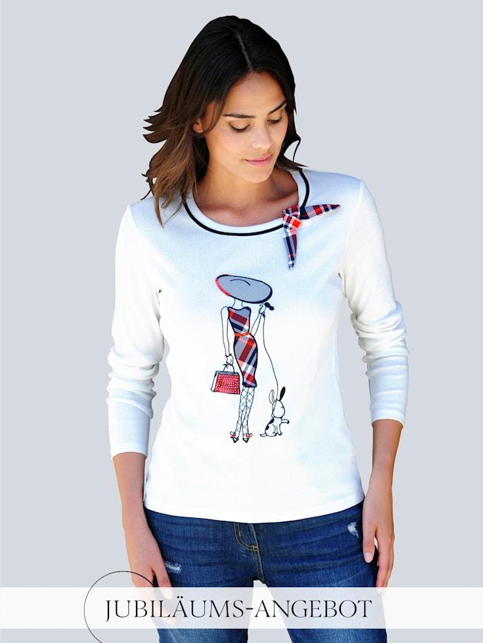 Alba Moda Shirt mit appliziertem Motiv, Off-white