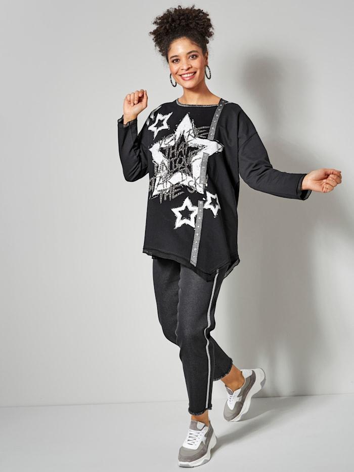 Sweatshirt mit Mesh an Ärmeln und Saum