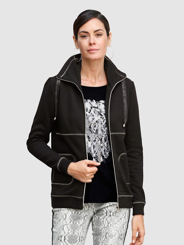Laura Kent Sweat bunda se švy ve stříbrné barvě, Černá