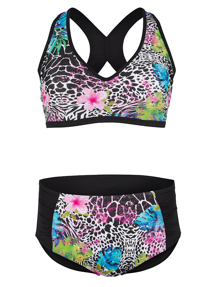 Maritim Bikini met een modieuze patronenmix, Zwart/Wit/Pink
