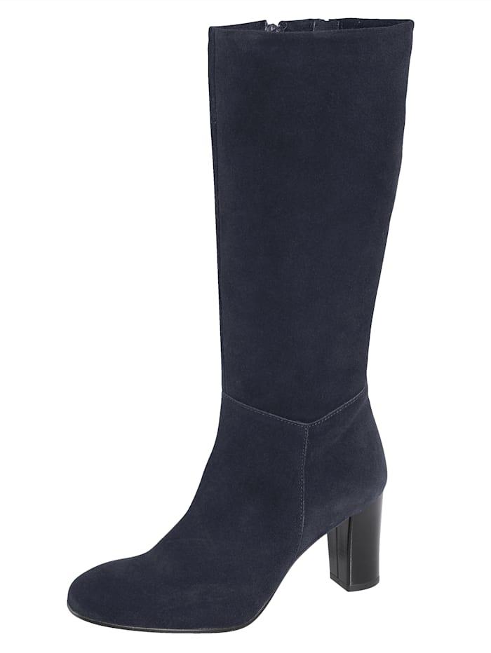 Stiefel aus feinem Veloursleder, Marineblau