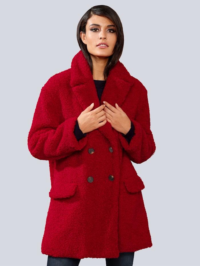 Alba Moda Jacke in effektvoller Teddyoptik, Rot