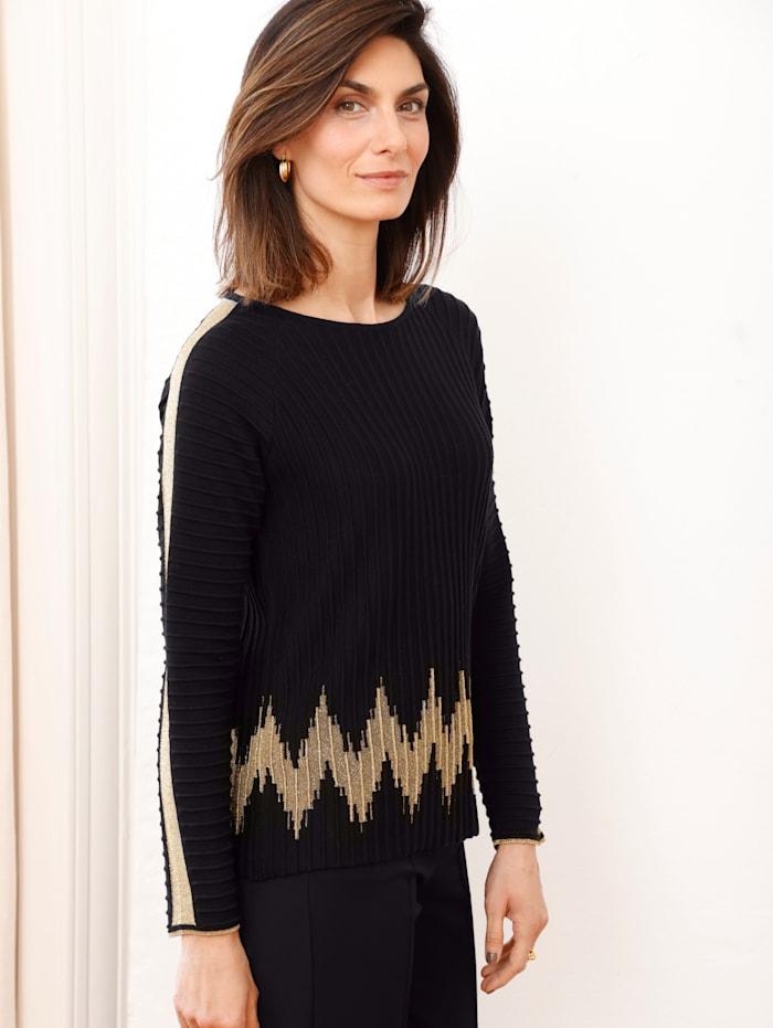 MONA Pullover mit metallischen Garn, Schwarz/Goldfarben