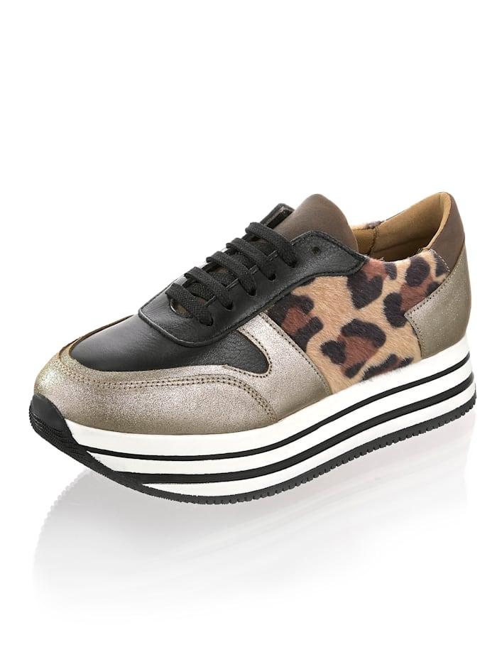 Alba Moda Sneaker mit durchgehender Plateausohle, Taupe/Schwarz