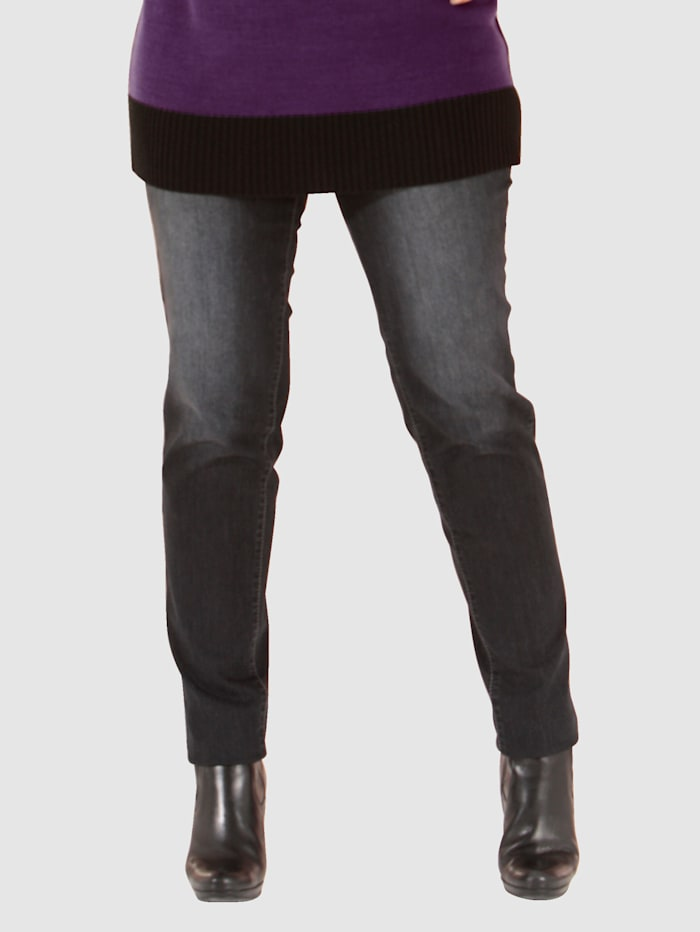MIAMODA Jeggings med beltehemper, Black stone