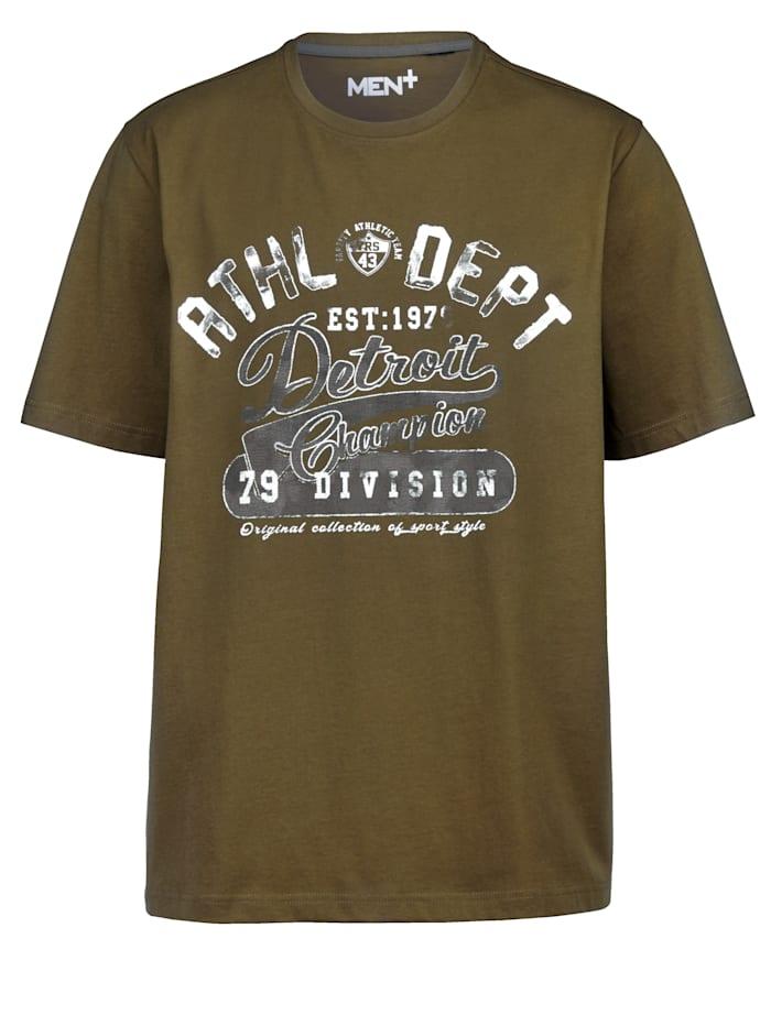Men Plus T-shirt van zuiver katoen, Olijf