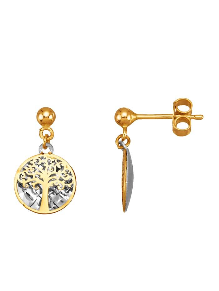 Örhängen – livets träd i 9 k guld, Guldfärgad