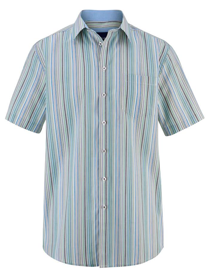 BABISTA Košeľa s prúžkovaným vzorom z farbenej priadze, Zelená/Modrá