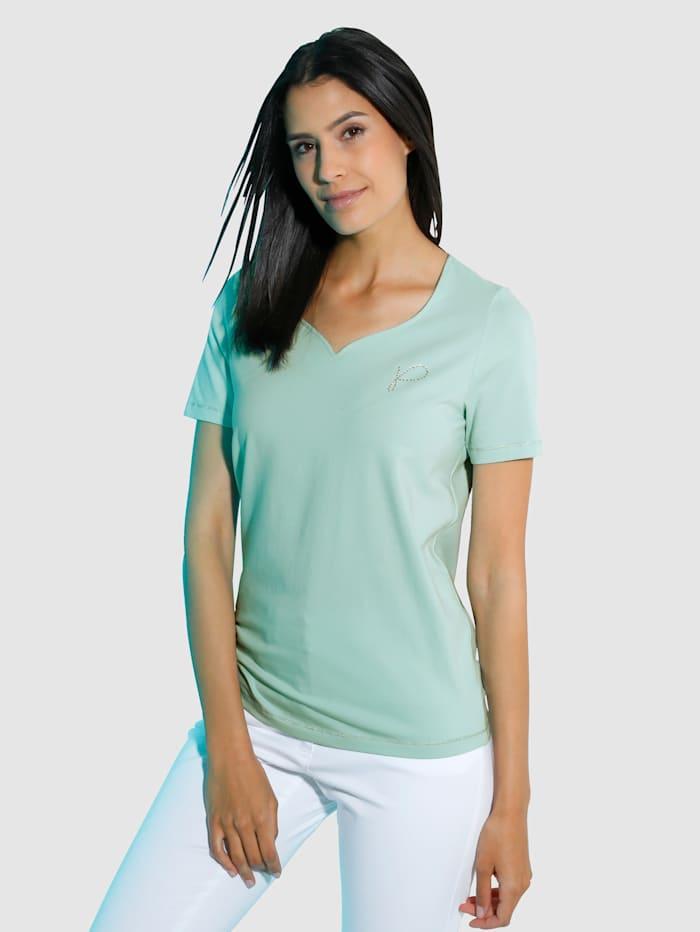 Paola Shirt Modisches Shirt mit Herzausschnitt, Mintgrün
