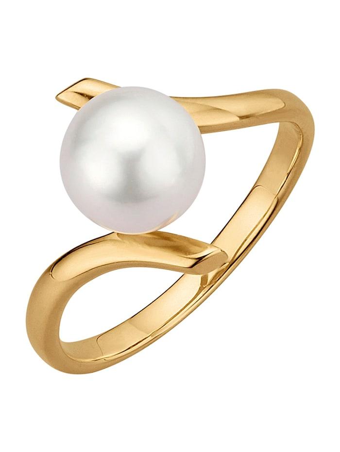 Diemer Perle Kultainen Akoya-helmisormus, Valkoinen