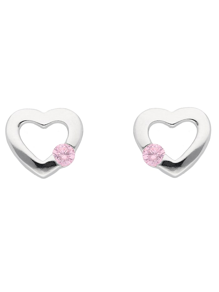 1001 Diamonds 1001 Diamonds Damen Silberschmuck 925 Silber Ohrringe / Ohrstecker Herz mit Zirkonia, bunt