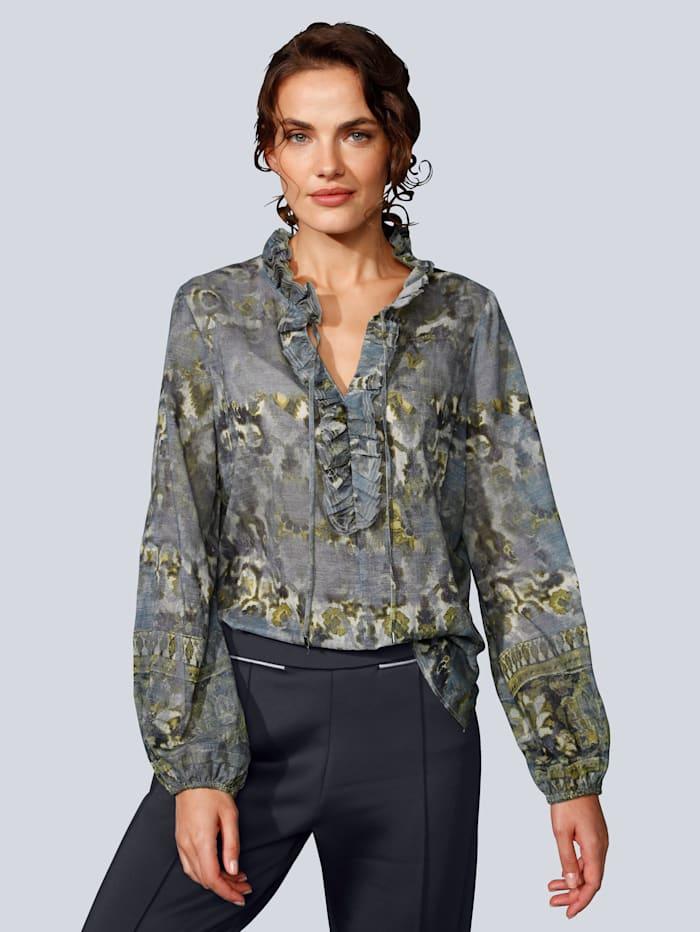 MARGITTES Bluse mit Rüschen, Dark blue