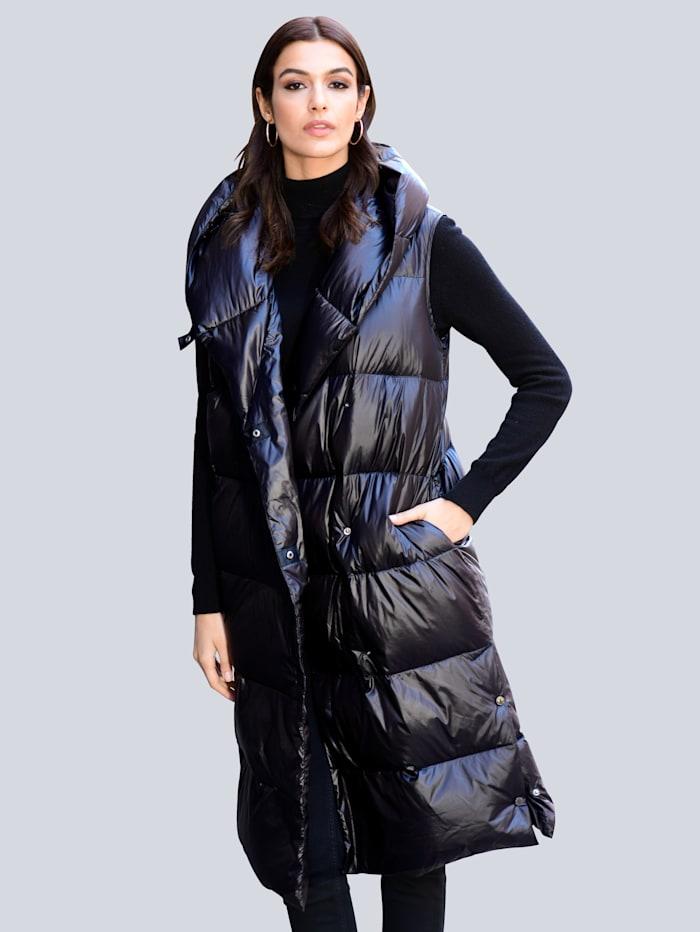 Alba Moda Steppweste mit voluminösem Kragen, Schwarz