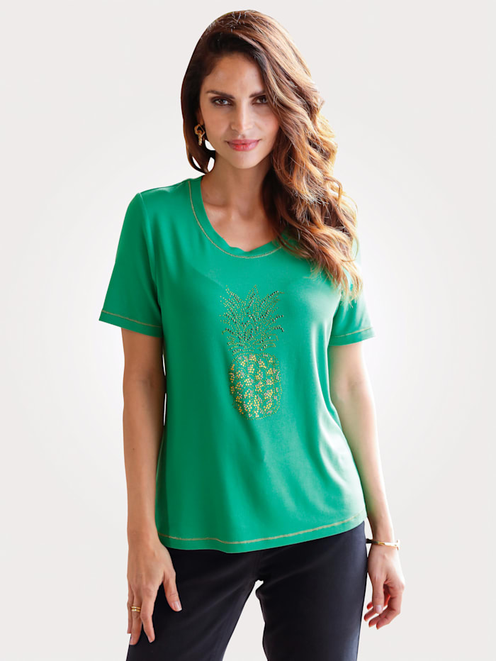 Top with rhinestone pineapple embellishment