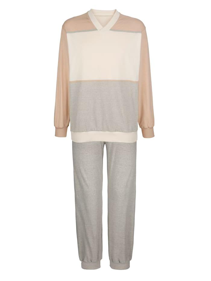 Götting Pyžama z farebne pestovanej bavlny, Prírodná biela
