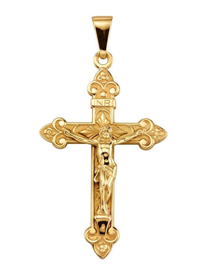 Kreuz-Anhänger in Gelbgold, Gelb