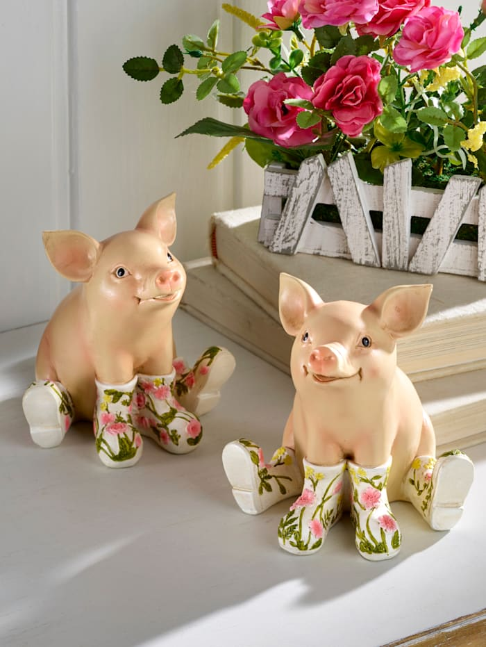 2er Set Deko-Schweinchen, bunt