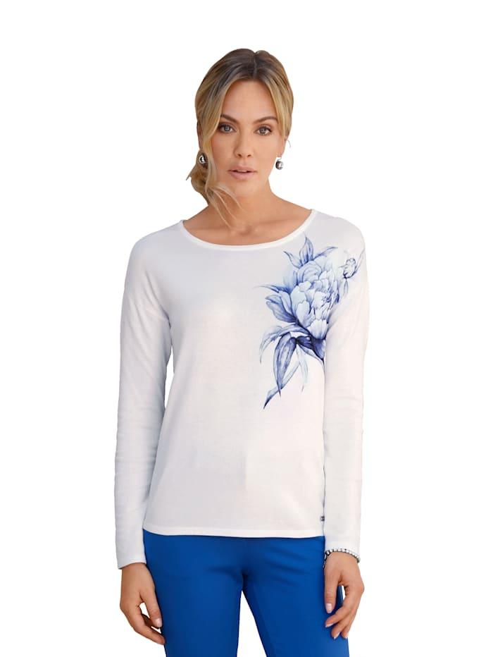 AMY VERMONT Pullover mit Blumendruck im Vorderteil, Weiß/Blau