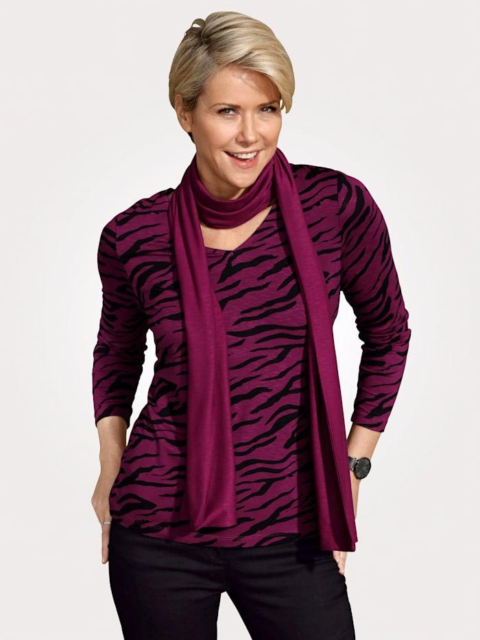 MONA Shirt met sjaal, Berry/Zwart