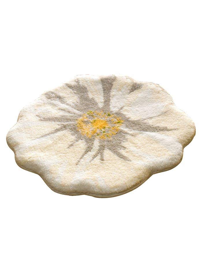 Grund Badematte 'Blüte', Creme-Weiß