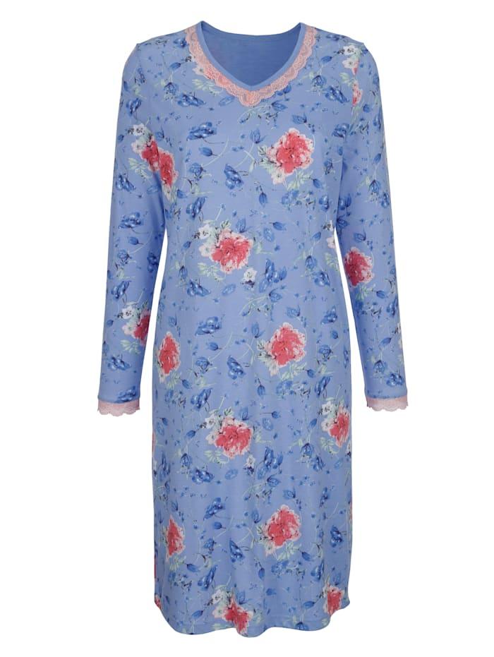 MONA Chemise de nuit avec détails raffinés en dentelle, Bleu ciel/Vieux rose/Vert