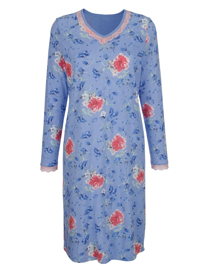 MONA Nightdress with lace, Light Blue/Rose/Green