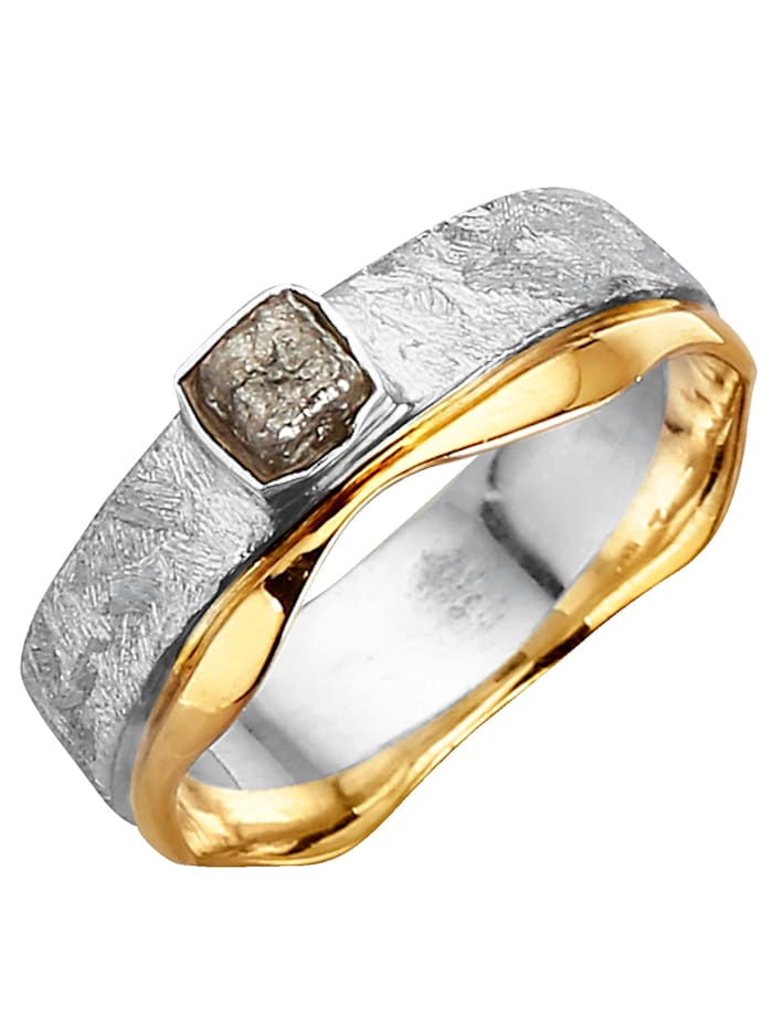 Damenring mit Rohdiamant, Grau
